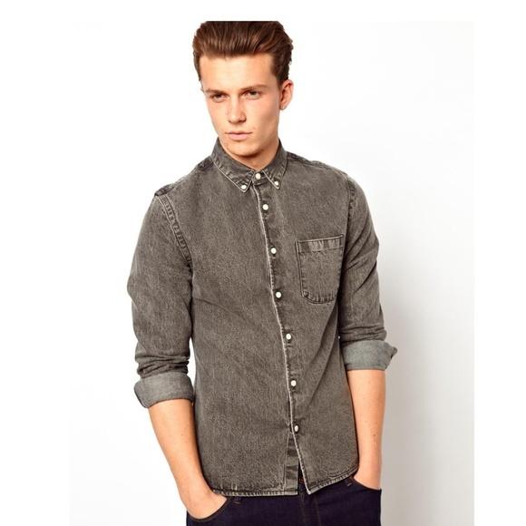 f1fe972366 ASOS Other - ASOS Dark Grey Denim Button Up Shirt